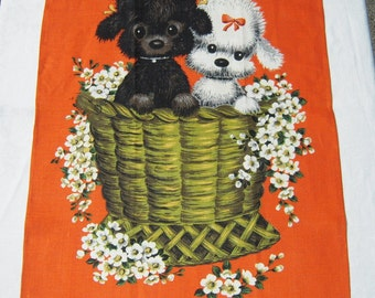 Vintage Towel Basket of Poodle Puppies