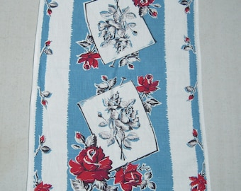 Vintage Towel Beautiful Roses in Red White & Blue