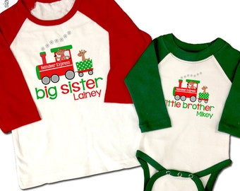 Christmas big sister little brother (or any combination) reindeer matching sibling shirts