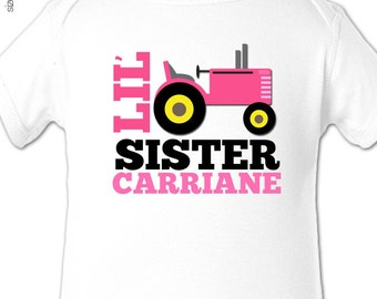 Little sister shirt - pink tractor lil' sister personalized Tshirt or bodysuit
