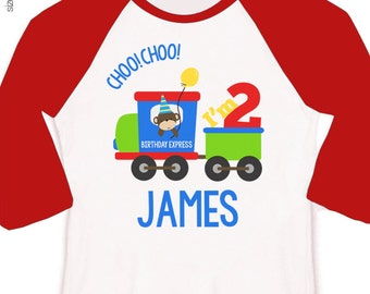 Birthday express train shirt - childrens personalized choo choo train sporty raglan style birthday shirt