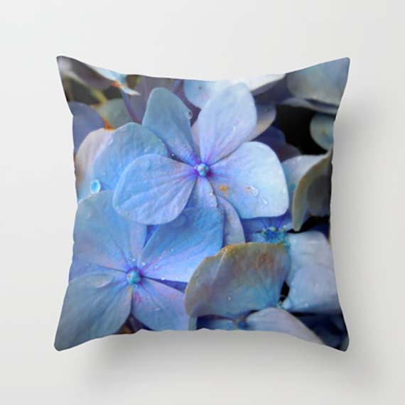 Blue Hydrangea Throw Pillow : Blue Decorative Throw Pillow Hydrangea Cushion Throw