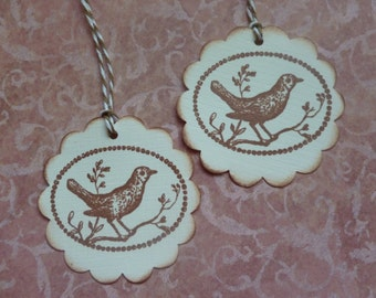 Bird tags Hand stamped nature themed birdie tags scalloped tags vintage inspired vintage style - set of 6