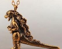 Godzilla Necklace Godzilla Pendant Bronze Godzilla Charm Godzilla Miniature Monster Jewelry Monster Necklace Japanese Icon Dinosaur Jewelry