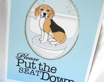 Put the Seat Down Beagle - 8x10 Eco-friendly Print