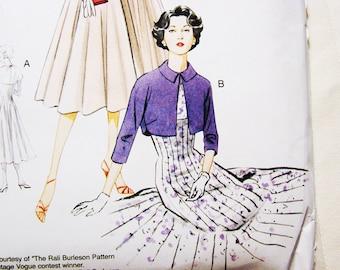Retro Vogue 1950s Dress Pattern Vogue Model Original Dress with Bolero Jacket  Misses size 6 8 10 12 14  UNCUT