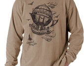 Airship, Men's long sleeve t-shirt, Vintage Steampunk T-shirt,  Khaki t-shirt, Gift for Him, Art T-shirt, Cool t-shirt