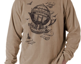 SALE - Airship, Men's long sleeve t-shirt, Vintage Steampunk T-shirt,  Khaki t-shirt, Gift for Him, Art T-shirt, Cool t-shirt