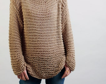 Simple is the best - Hand knitted woman sweater Eco sweater oversized in wheat