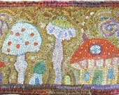 Tiny Places Pattern PDF for rug hooking and punchneedle embroidery