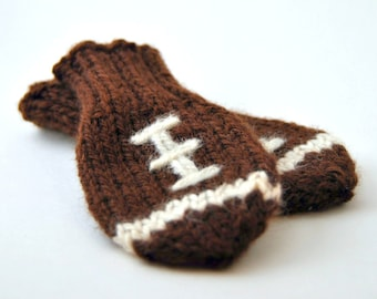 Wool Baby Football Mittens, Thumbless Wool Baby Mittens