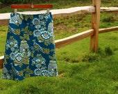 Woman's A Line, Amy Butler,Belle, Royal Garden Turquoise, Custom skirt, simple drop waist, a line, knee length, skirt size women's 4-22