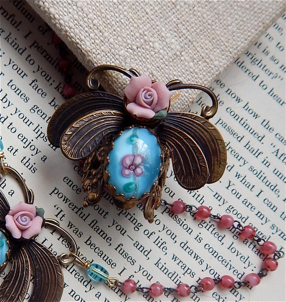 Statement Ring, Insect Jewelry, Jeweled Bug, Moth To A Flame Ring with Porcelain Rose