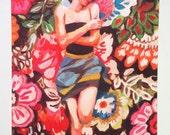 Rimma / Big print - Folk art print - flowers / blue/ red/ white/ girl print / woman drawing print  Portrait drawing - ART PRINT size A3