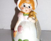 Vintage JASCO Strawberry Patches Jasco Bell - Collectible Bell Figurine - Girl Bell - Home Decor - Bell Collectibles - Porcelain Bell