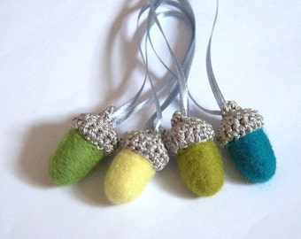 8 felted acorns ornaments yellow olive green teal wool woodland Weddings favor gift for her Mother's day handmade crochet garland home decor