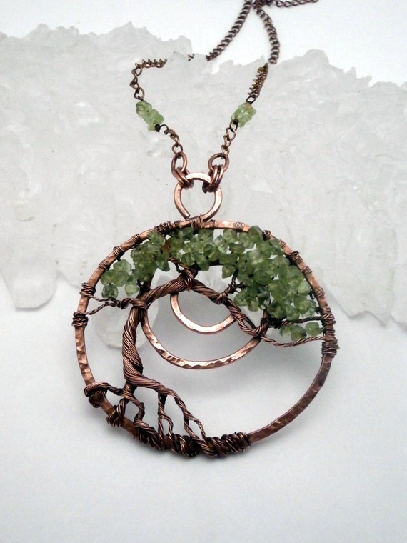 Wire Wrapped Tree Of Life Pendant Necklace Peridot Bonsai