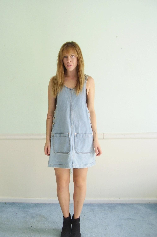 90s Denim Overalls Mini Jumper Dress Vintage SMALL S