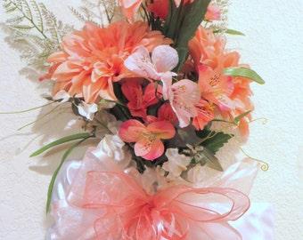 Coral Dahlias and White Pearls Elegant Vertical Door Swag or Home Wall or Door Teardrop or Bridal Decor