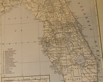 1934 State Map Florida - Vintage Antique Map Great for Framing
