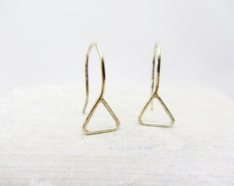 Triangle dangle earrings in sterling silver, Geometric triangular  earrings