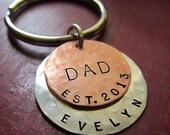 Personalized Hand Stamped Keychain - Keyring - Sterling Silver/Copper - Great Gift for Dad - Gift for Grad - New Driver Gift - Grandpa Gift