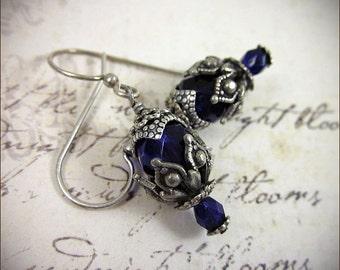 Purple Earrings, Renaissance Earrings, Plum, Gothic Victorian, Renaissance Costume, SCA Garb, Victorian Earrings, Medieval, Rhiannon