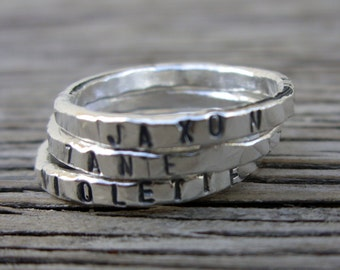 One little word ring Stacking ring ONE Personalized womens stackable ring, hand stamped, hand made custom jewelry girlfriend Mother's ring