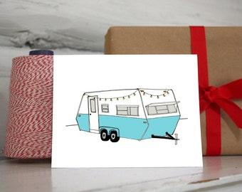 Vintage Travel Trailer Camper Card Set