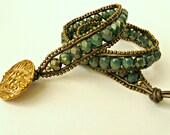 BOGO. Handmade leather wrap bracelet. Turquoise, bronze, copper, Etruscan, ethnic, ancient, Egyptian, antique, classic. Double, adjustable.