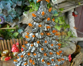 Ceramic Christmas Tree  Black Halloween with Bat   Vintage style Lighted - desk top - nursing home slim window sill type