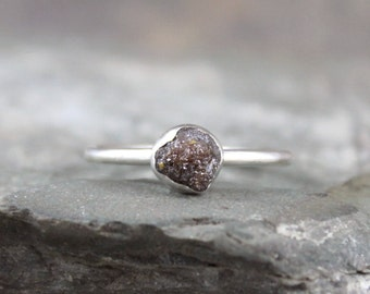 Raw Diamond Ring - Sterling Silver Bezel Set - Chocolate Color Rough Diamond - Engagement Ring - Promise Ring - April Birthstone Rings