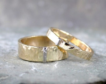 14K Yellow and White Gold Wedding Bands - Textured Mixed Metal - His and Hers - Commitment Rings - Matching Wedding Rings - Wedding Band Set