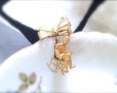 Vintage JFK in Rocking Chair Pin. Kennedy President Brooch. Unique Small Pin. Bow. Under 25. Gold Tone Metal. Teeny Detailed Miniature.