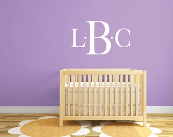 3 Letter monogram initial wall decal DB348