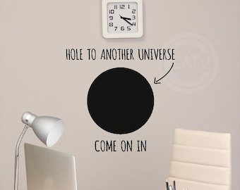 Hole to another universe vinyl lettering wall decal art sticker white elephant gift