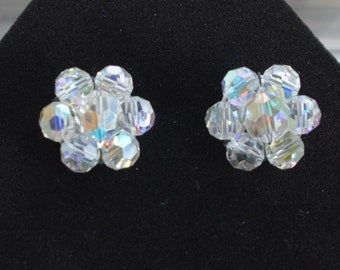 Beautiful Vintage Aurora Borealis Crystal Clip Earrings