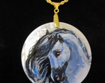 Andalusian horse art handpainted necklace on a mother of pearl 2