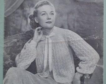 Vintage Knitting Pattern 1940s Womens Bed Jacket Bedjacket  Dressing Jacket Cardigan Lacy Design 40s original pattern Argyll  No. 122 UK