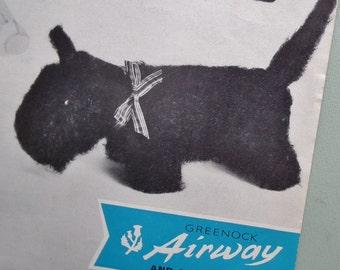 Vintage Knitting Pattern 1960s Knitted Soft Toys Rabbit Bunny Dog Cat Teddy Doll 60s original pattern