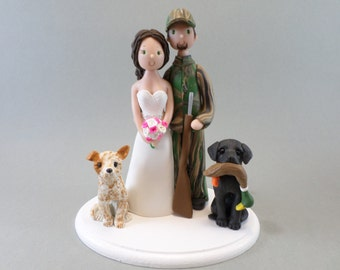 Unique Cake Toppers - Customized Hunting Theme Wedding Cake Topper