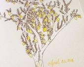 Personalized Lemon Tree Letterpress & Watercolor Print- Kitchen Art Wedding Gift