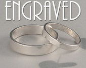 Straight and Narrow Bands with Engraving--Solid Sterling Silver Flat Edge Wedding Ring Set Custom Made in YOUR Sizes--Simple Wedding Set
