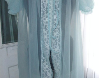 Vintage Baby Blue Nylon Puffed Sleeve Robe - Sz L