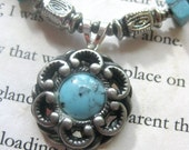 Pretty as a Button - Set of Necklace and Earrings, Made in Turquoise and Silver