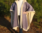 Encore - Lavender Suede and Ivory Sherpa Hooded Fleece Poncho or Cape