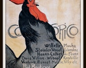 Rooster Poster - Rooster Art Print -  Cocorico - Kitchen Wall Art - French Rooster Poster - Rooster Print - Crowing Rooster