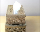 gold filigree metal tissue dispenser kleenex box hollywood regency decor