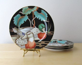 duck plates fitz and floyd mallard pond set four porcelain salad plates