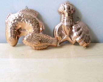 large copper fish or lobster mold gourmet seafood mould